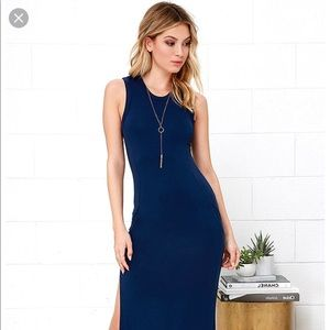 Lulu's Navy Blue Maxi Dress with Pockets! NWT
